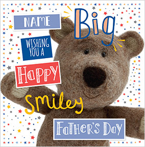 Barley Bear - Big smiley Father's Day personalised Card