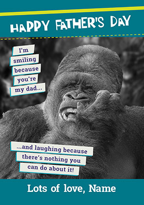 Happy Father's Day Gorilla Personalised Card