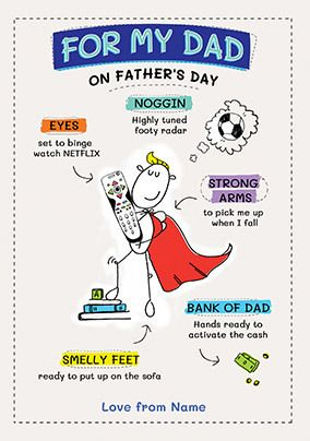 For My Dad on Father's Day Personalised Card