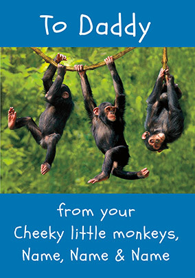 Cheeky Little Monkeys Personalised Father's Day Card