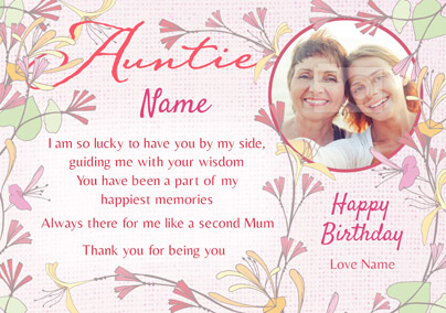 Amore - Birthday Card Auntie Loving Verse