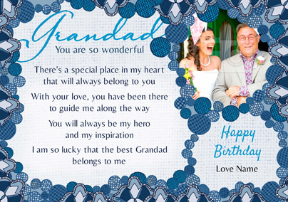 Amore - Birthday Card Grandad Loving Verse