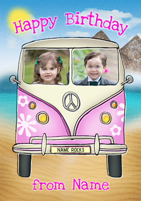 Driver's Seat - Birthday Card Girls Campervan