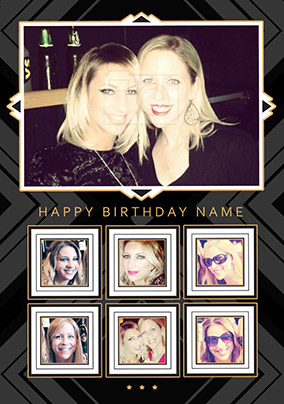 Glam Squad - Birthday Card 7 Photo Upload Portrait