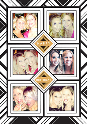 Glam Squad - Birthday Card 6 Photo Upload Portrait