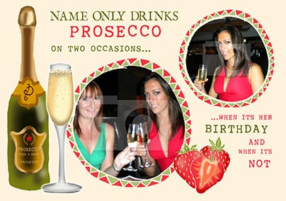 Rhythm & Booze - Birthday Card Only Drinks Prosecco Photo Upload