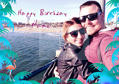 South Beach Birthday Card Full Photo Upload Landscape Funky Pigeon