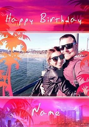 South Beach Birthday Card Photo Upload Palm Trees Portrait Funky