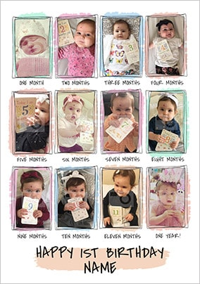 First Birthday Milestones Photo Card