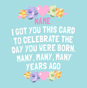 Celebrate the Day You were Born Personalised Card