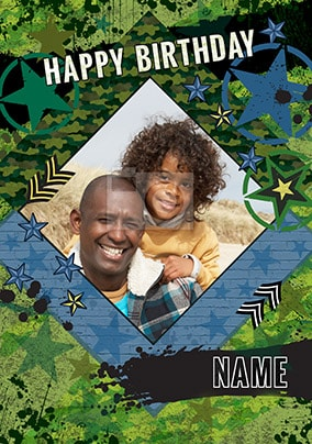 Camo Print Photo Birthday Card