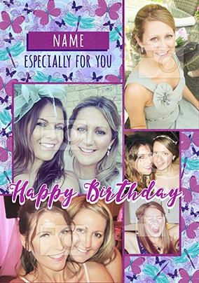 Multi Photo Butterfly Birthday Card