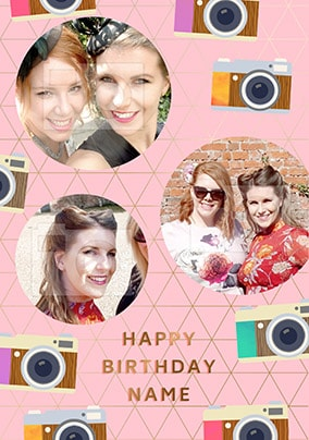 Retro Multi Photo Birthday Card