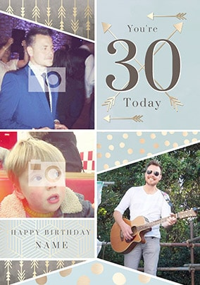 You're 30 Today Blue Multi Photo Card