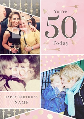 You're 50 Today Pink Multi Photo Card