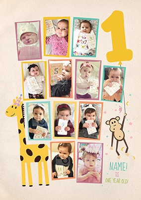First Year Multi Photo Birthday Card