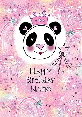 Happy Birthday Panda Personalised Card