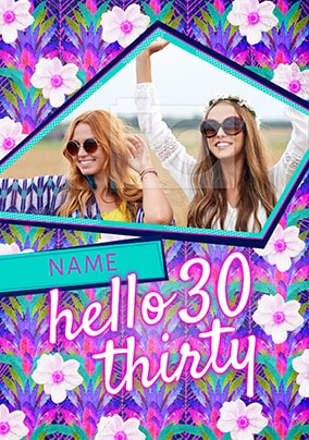 Hello Thirty Pink Photo Birthday Card