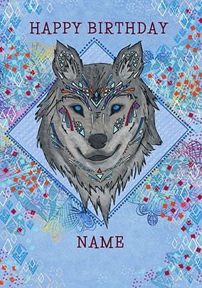 native wolf personalised birthday card - Personalised Birthday Cards