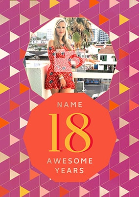18 Awesome Years Female Photo Card