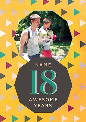 18 Awesome Years Male Photo Card