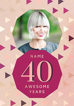 40 Awesome Years Female Photo Card