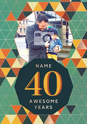 40 Awesome Years Male Photo Card