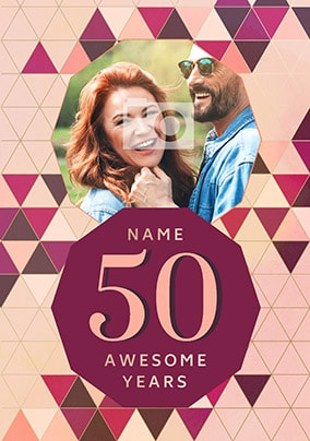 50 Awesome Years Female Photo Card