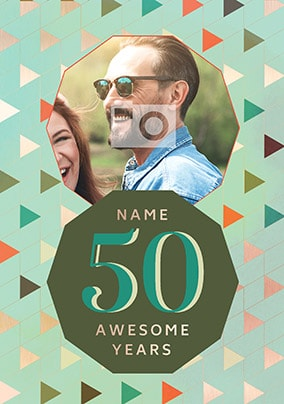 50 Awesome Years Male Photo Card
