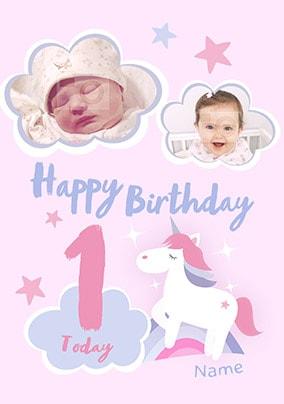 Happy Birthday 1 Today Unicorn Photo Card