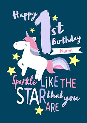 1st Birthday Personalised Unicorn Card