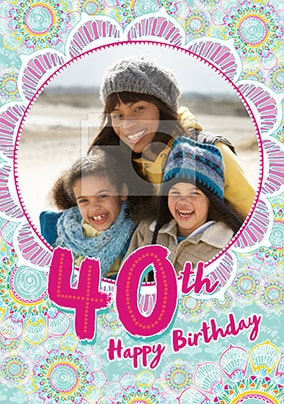 40th Birthday Pink Floral Photo Card