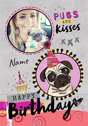 Pugs Kisses Photo Birthday Card NO Preview Image Is Not Found