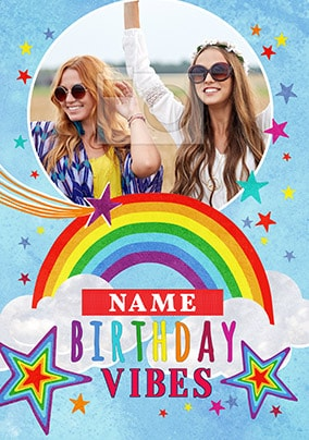 Birthday Vibes Photo Upload Personalised Card