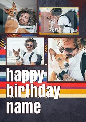 Four Photo Retro Birthday Card