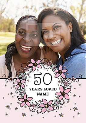 50 Years Loved Flowers Photo Card