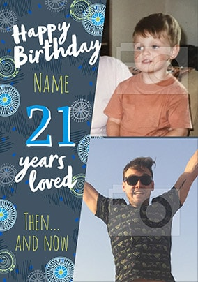 21 Years Loved Male Multi Photo Card