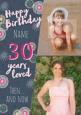 30 Years Loved Female Multi Photo Card