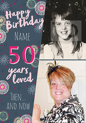 50 Years Loved Female Multi Photo Card