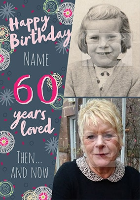60 Years Loved Female Multi Photo Card