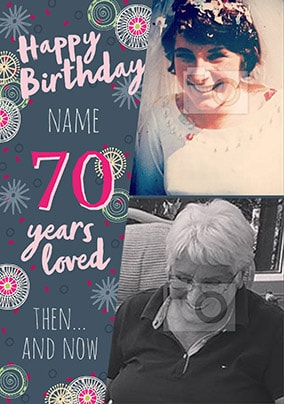 70 Years Loved Female Photo Card