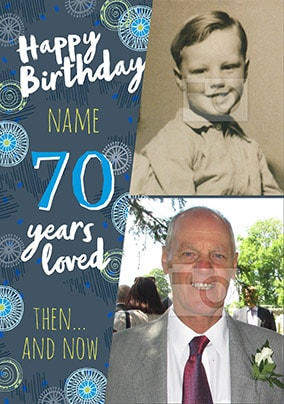 70 Years Loved Male Photo Card