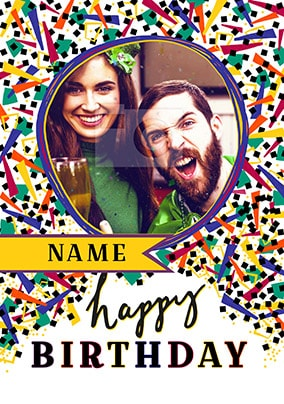 Happy Birthday Blue Confetti Photo Card