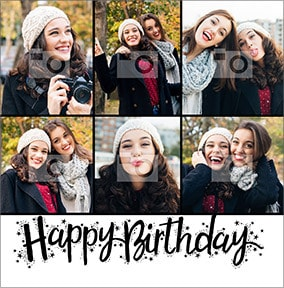 Happy Birthday Script Multi Photo Card
