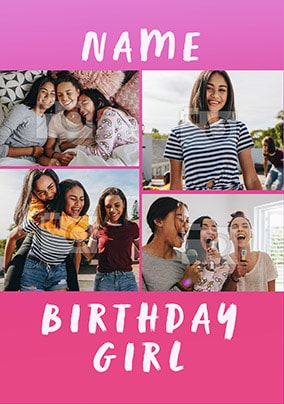 Birthday Girl Pink Multi Photo Card