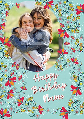 Happy Birthday Floral Paisley Photo Card