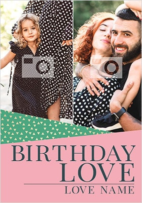 Birthday Love Pink Multi Photo Card