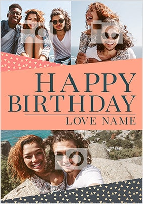Happy Birthday With Love Multi Photo Card