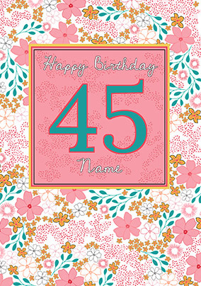 Happy 45th Birthday Personalised Card