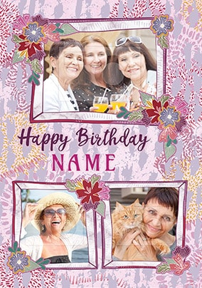 Floral Birthday Photo Card